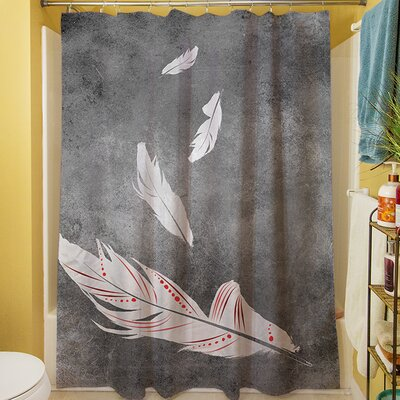 Feather Float Shower Curtain Color: White