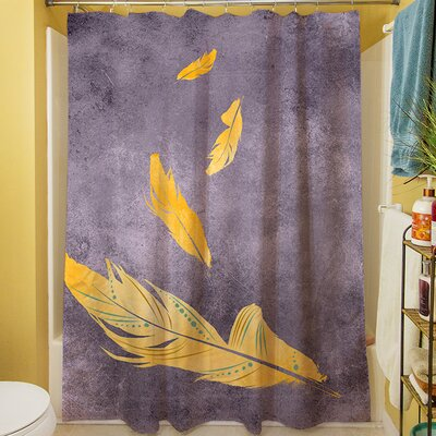 Feather Float Shower Curtain Color: Gold
