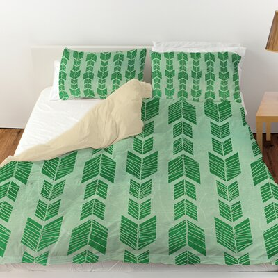 Featherwood Duvet Cover Color: Green, Size: Queen