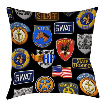 Police Patches Printed Throw Pillow Size: 16 H x 16 W x 4 D