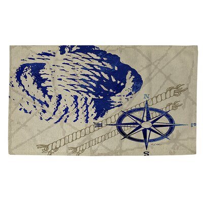 Nautical Rope Blue/Grey Area Rug Rug Size: 2' x 3'