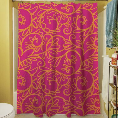 Funky Florals Swirl Shower Curtain Color: Pink
