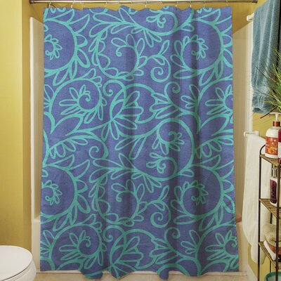 Funky Florals Swirl Shower Curtain Color: Blue