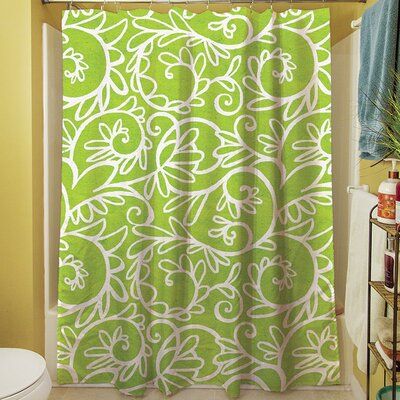 Funky Florals Swirl Shower Curtain Color: Green
