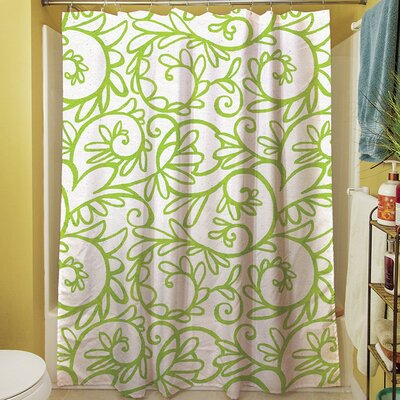 Funky Florals Swirl Shower Curtain Color: White