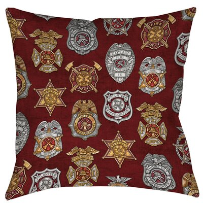 Firefighter Badges Printed Throw Pillow Size: 16 H x 16 W x 4 D