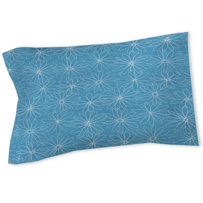 Funky Florals Daisy Sketch Sham Size: Queen/King, Color: Aqua