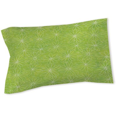 Funky Florals Daisy Sketch Sham Size: Twin, Color: Lime
