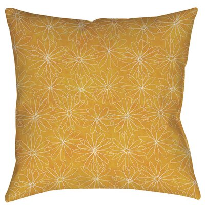 Funky Florals Daisy Sketch Indoor/Outdoor Throw Pillow Size: 18 H x 18 W x 5 D, Color: Sunset