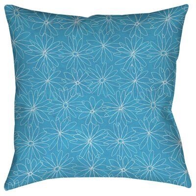 Funky Florals Daisy Sketch Indoor/Outdoor Throw Pillow Size: 16 H x 16 W x 4 D, Color: Aqua