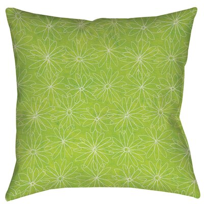 Funky Florals Daisy Sketch Indoor/Outdoor Throw Pillow Size: 20 H x 20 W x 5 D, Color: Lime
