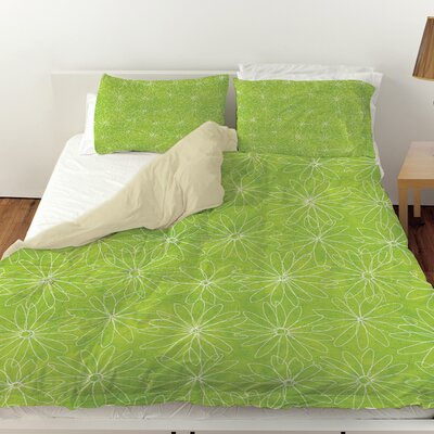 Funky Florals Daisy Sketch Duvet Cover Size: Queen, Color: Lime