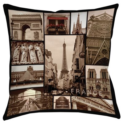 France Printed Throw Pillow Size: 26 H x 26 W x 7 D