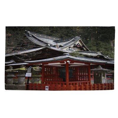 Nikko Monastery Building Gray/Red Area Rug Rug Size: 4 x 6