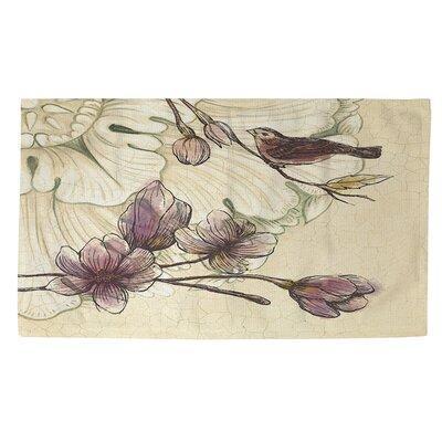 Rosette Bird Tan/Purple Area Rug Rug Size: 4 x 6