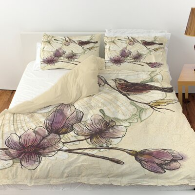 Rosette Bird Duvet Cover Size: Twin