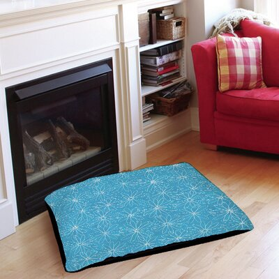 Funky Florals Daisy Sketch Pet Bed Size: 28 L x 18 W, Color: Aqua