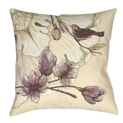 Rosette Bird Indoor/Outdoor Throw Pillow Size: 20 H x 20 W x 5 D