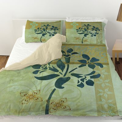 Patterned Collage Blossoms Duvet Cover Size: King