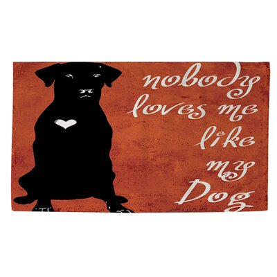 Nobody Loves Me Like My Dog Orange/Black Area Rug Rug Size: 4 x 6