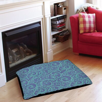 Funky Florals Swirl Pattern Pet Bed Size: 28 L x 18 W, Color: Blue