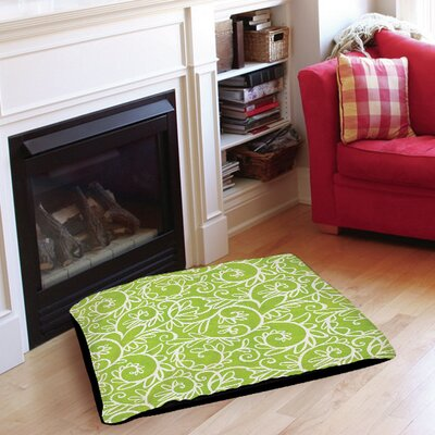Funky Florals Swirl Pattern Pet Bed Size: 28 L x 18 W, Color: Green