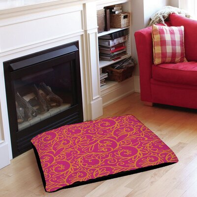 Funky Florals Swirl Pattern Pet Bed Size: 28 L x 18 W, Color: Pink