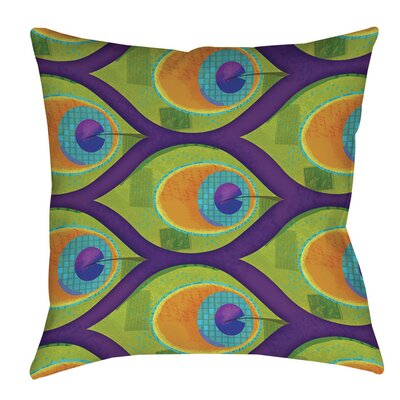 Peacock Pattern 10 Indoor/Outdoor Throw Pillow Size: 20 H x 20 W x 5 D