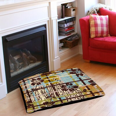 Floral Study in Plaid Pet Bed Size: 50 L x 40 W