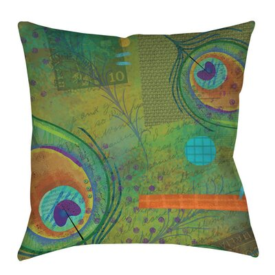 Peacock Pattern 2 Indoor/Outdoor Throw Pillow Size: 16 H x 16 W x 4 D