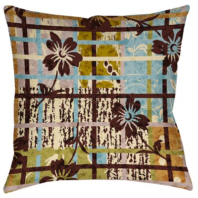 Floral Study in Plaid Indoor/Outdoor Throw Pillow Size: 18 H x 18 W x 5 D