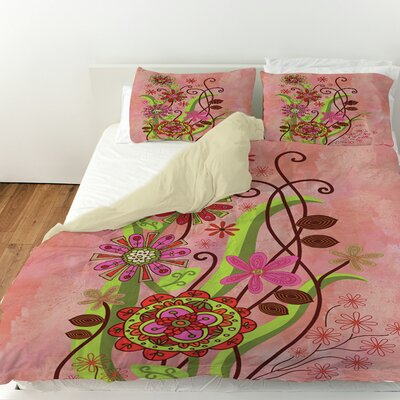 Flower Power Stems Duvet Cover Size: Queen