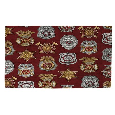 Firefighter Badges Area Rug Rug Size: 2 x 3