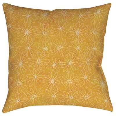 Funky Florals Daisy Sketch Printed Throw Pillow Size: 16 H x 16 W x 4 D, Color: Sunset