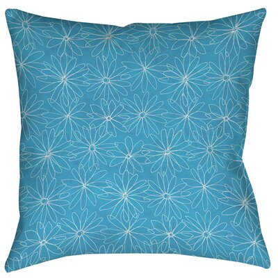Funky Florals Daisy Sketch Printed Throw Pillow Size: 26 H x 26 W x 7 D, Color: Aqua