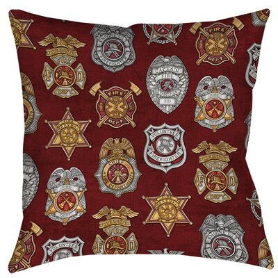 Firefighter Badges Indoor/Outdoor Throw Pillow Size: 18 H x 18 W x 5 D