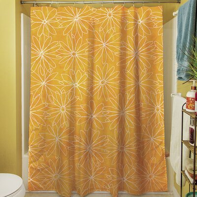 Funky Florals Daisy Sketch Shower Curtain Color: Sunset