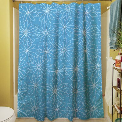 Funky Florals Daisy Sketch Shower Curtain Color: Aqua