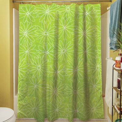 Funky Florals Daisy Sketch Shower Curtain Color: Lime
