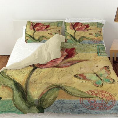 Sketchbook Floral Tulip Duvet Cover Size: Twin