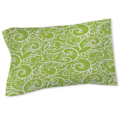 Funky Florals Swirl Pattern Sham Size: Queen/King, Color: Green