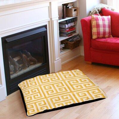 Greek Key 2 Pet Bed Size: 28 L x 18 W, Color: Yellow