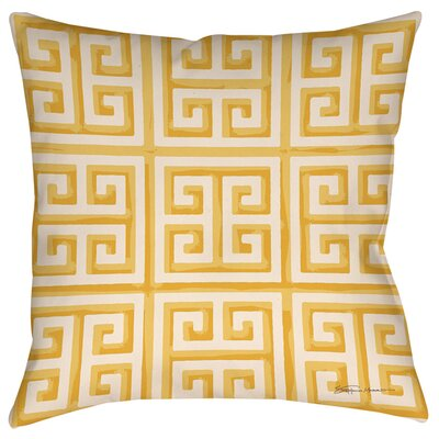 Greek Key 2 Indoor/Outdoor Throw Pillow Size: 16 H x 16 W x 4 D, Color: Yellow