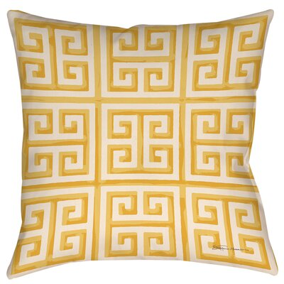 Greek Key 2 Printed Throw Pillow Size: 16 H x 16 W x 4 D, Color: Yellow