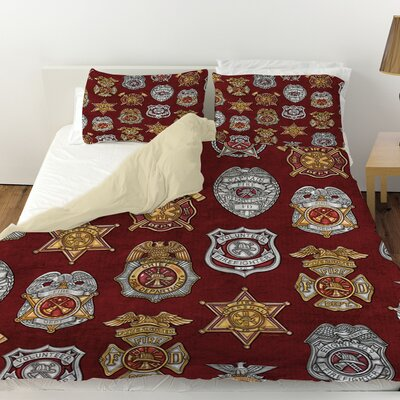 Firefighter Badges Duvet Cover Size: Twin