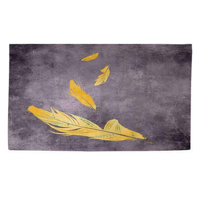 Feather Float Gold Area Rug Rug Size: 2 x 3