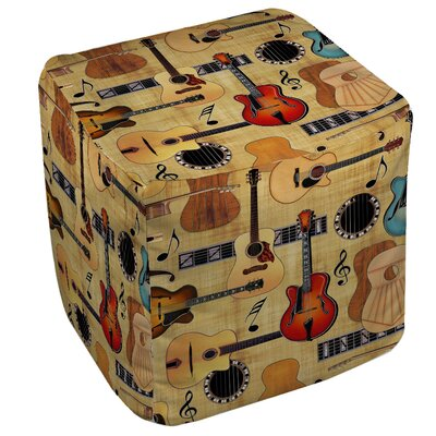 Guitar Collage Cream Ottoman