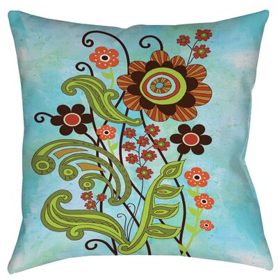 Flower Power Stems Printed Throw Pillow Size: 16