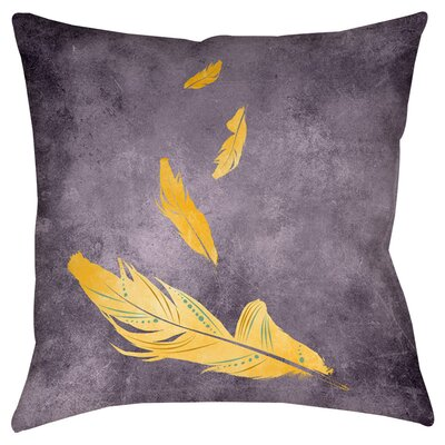 Feather Float Indoor/Outdoor Throw Pillow Size: 18 H x 18 W x 5 D, Color: Gold