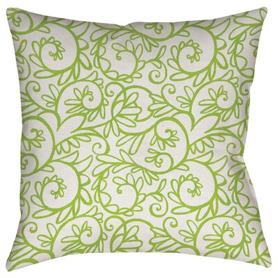 Funky Florals Swirl Pattern Indoor/Outdoor Throw Pillow Color: White, Size: 18 H x 18 W x 5 D